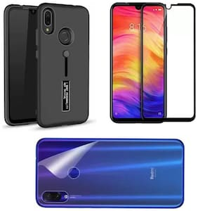 Personality Shock Proof Stand Back Cover Case + 9H Tempered Glass + Back Guard  Designed for Xiaomi Mi Redmi Note 7 & Redmi Note 7 Pro & Note 7S
