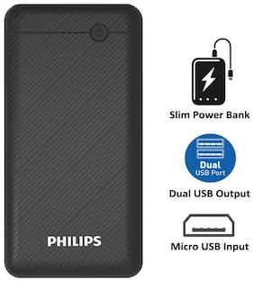 Philips DLP1710CB 10000 mAh Portable Power Bank - Black