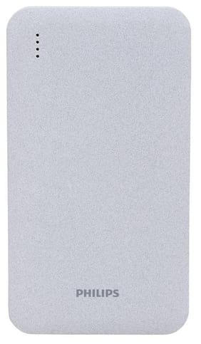 Philips DLP8006U 5000mAh Power Bank With Lithium Polymer Battery, With Inbuilt Apple Litghtning Cable & Micro USB Cable (Grey)