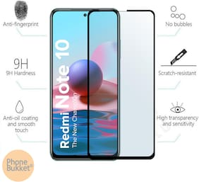 PhoneBukket 11D Tempered Glass Screen Protector for Xiaomi Redmi Note 10 (Transparent) Edge to Edge Full Screen Coverage, Pack of 1