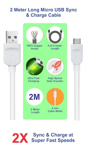 Pinnaclz 6 Feet / 2 Meter Lightening Fast Sync & Charge Micro USB Data Cable 2 Amp (White)