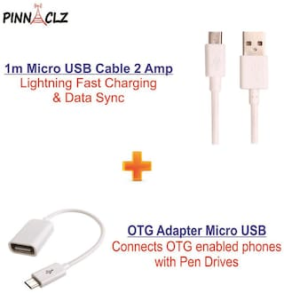 Pinnaclz Combo of Ultra Fast 2Amp Micro USB Charge & Data Sync Cable 1m + OTG Adapter Micro USB (Assorted Colour)