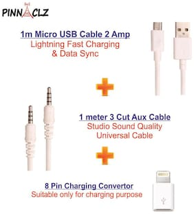 Pinnaclz Combo of Aux 1m + Ultra Fast 2Amp Micro USB Charging and Data Sync Cable 1m + 8Pin to Micro USB Adapter (White)