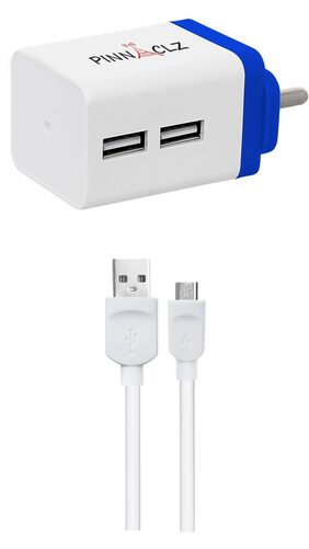 Pinnaclz Combo of Dual USB 2.4 Amp Wall Charger (White-Blue) + 3 Feet Lightening Fast Sync & Charge Micro USB Data Cable 2.4 Amp