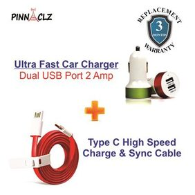 Pinnaclz Combo of Dual USB 2 Amp Car Charger + Typce C Cable Data Sync Cable RED (Assorted Colour)