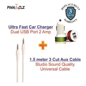 Pinnaclz Combo of Dual USB 2 Amp Car Charger + Aux Cable 1.5 m (Assorted Colour)