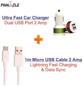 Pinnaclz Combo of Dual USB Car Charger + 1 m Lightening Fast Charge Micro USB Data Cable 2 Amp for Smartphones (White)