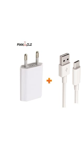 Pinnaclz Combo of Single USB 0.5 Amp Wall Charger + 1 m Type C Sync & Charge Lightening Fast Cable 2 Amp (White)
