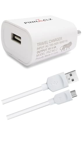 Pinnaclz Combo of 2 amp Wall Charger with 2 amp Micro USB Cable (White)