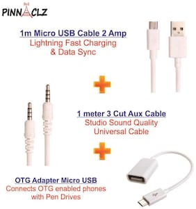 Pinnaclz Combo of Aux 1m + Ultra Fast 2Amp Micro USB Charge & Data Sync Cable 1m + OTG Adapter Micro USB (Assorted Col)