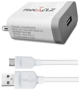 Pinnaclz Combo WC-7 (W) + 1 MUSB (W) Wall Charger For  All Smart Phones (White)
