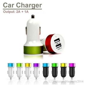 Pinnaclz Dual USB Car Charger 2.1 Amp and 1 Amp ports (Assorted Colour)