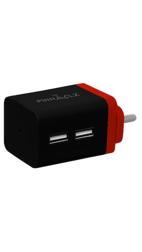 Pinnaclz Dual USB 2.4 Amp Wall Charger (Black-Red)
