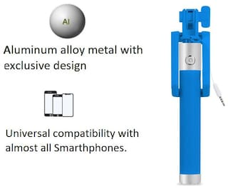 Pinnaclz Full Size Selfie Stick with Aluminium Cap (Blue)