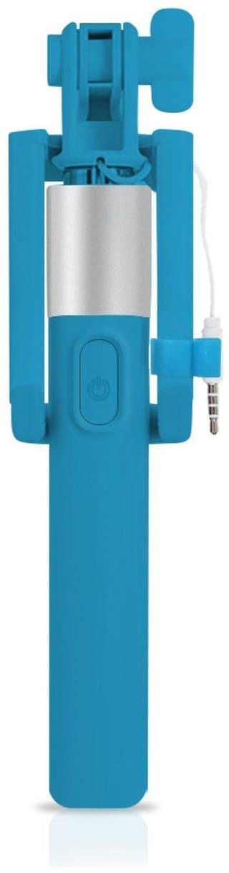 Pinnaclz Full Size Selfie Stick with Aux (Sky Blue)