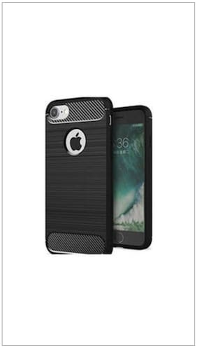 Pinnaclz Hybrid Rugged Soft Case Carbon Fibre Back Cover For Apple iPhone 6/6S (Mettalic Black)