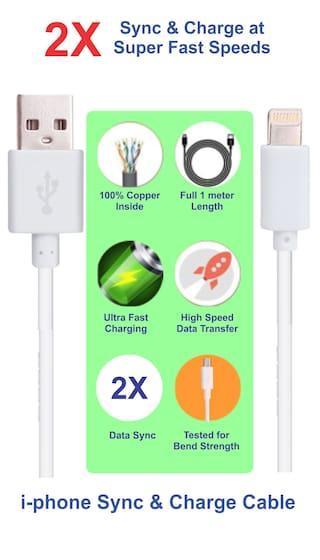 Pinnaclz 3 Feet / 1 Meter Lightening Fast Sync & Charge i-phone USB Data Cable 2 Amp