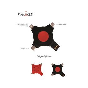 Pinnaclz New Multifunctional Finger Fidget Hand Spinner USB Charger with C Type, Micro & 8 Pin Port for charging (Assorted Colour)