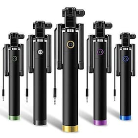 Pinnaclz Stylish AUX Wire Selfie Stick for all smartphones (Assorted Colour)