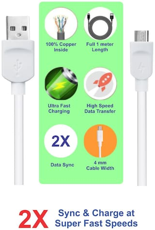 Pinnaclz Data & Charging Micro USB Cable ( 1 mtr , White )