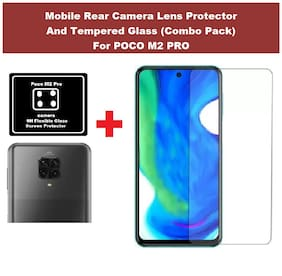 Poco M2 Pro Tempered Glass & Mobile Rear Camera Lens Protector (Combo Pack)