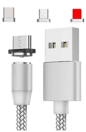 Pokryt Magnetic Charging 3 in 1 (Lightning & Micro USB & Type-C) Cable ( 1 m , Silver )