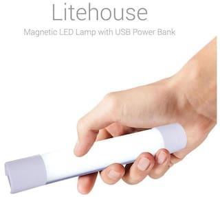 Portronics 4400 mAh Power bank with mini LED tubelight - POR 629 (White)