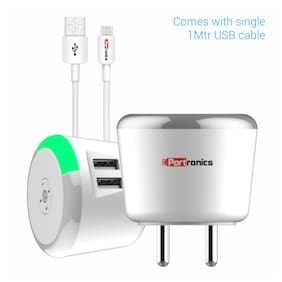 Portronics POR-469 Fast Charging Wall Charger - 2 USB Ports