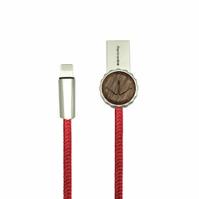 Portronics Konnect Woody POR-847 Lightning Data Cable - 3.9 Feet (1.2 Meters) (Red)