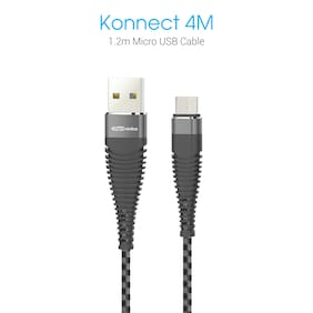 Portronics POR-874 Konnect 4M Micro USB Cable (Black-Grey)