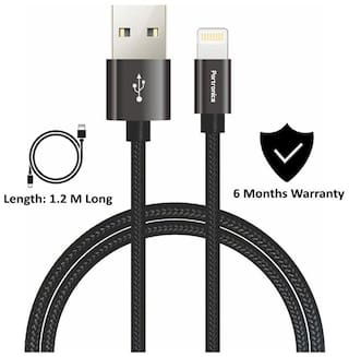 Portronics POR-792 Konnect Pro Lightning 1.2M Cables for Charging and Data Transfer by Smartphones / Gadgets with Extra Thick 4.5mm Flexible Cords and Nylon Braided Material