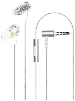 Portronics Conch 208 POR-886 Dual Driver  Extra Bass In-Ear Wired Headphones with Microphone (White)