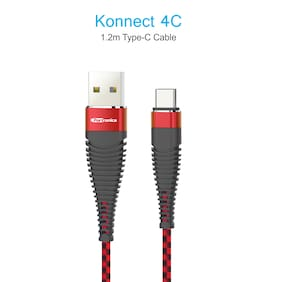 Portronics POR-876_Konnect 4C 1m Type-C Cable(Red-Black)