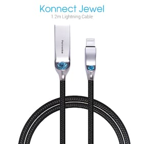 Portronics POR -848_ Konnect Jewel 1m Lightning Cable is Extra thick (4.5mm) comes with Nylon Braided Material, 2.1A Output, charging & Data sync Function for iphone/iPad/iPod.