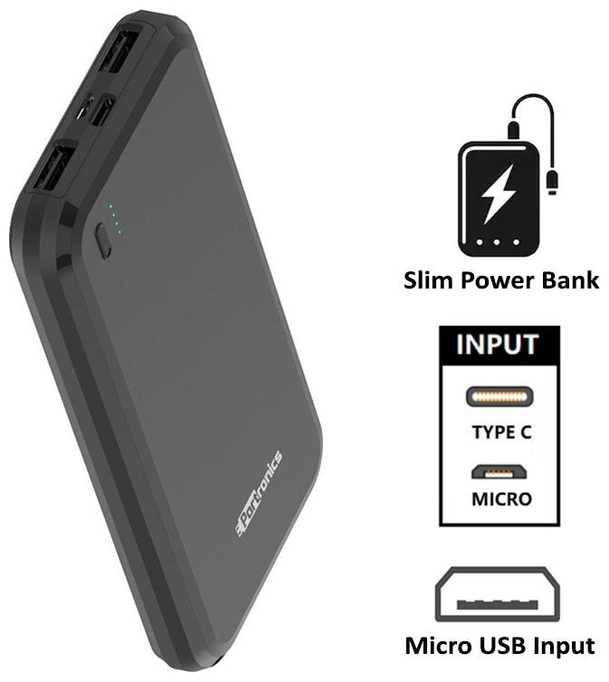 Portronics POR-1014 POWER BRICK 10 10000mAh Power Bank with Dual Input (Micro+Type-C),...