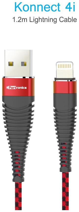Portronics POR-860_Konnect 4i 1.2m Lightning Cable is Extra thick (4.5mm) comes with Silk Braided Material, 2.4A Output, for charging & Data sync Function for iphone/iPad/iPod.