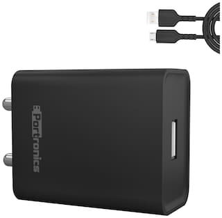 Portronics Adapto 62 2.4 A Wall Charger - 1 USB Port With Micro USB Cable