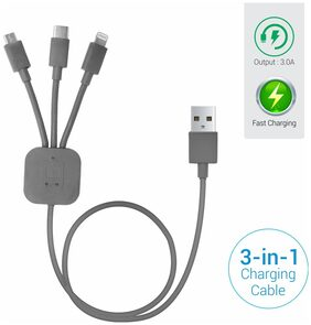 Portronics POR-013 Konnect-Trio 3-in-1 Multi Functional Cable (Grey)