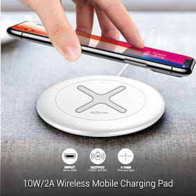Portronics Toucharge X 10W/2A Wireless Mobile Charging Pad (POR-897, White)