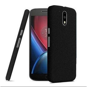 Moto G4/G4 Plus (Black) Rubberised Matte Hard PC Back Cover Case