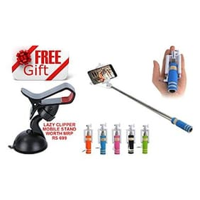 Premsons Selfie Stick with AUX Cable + FREE GIFT Lazy Clipper Mobile Stand