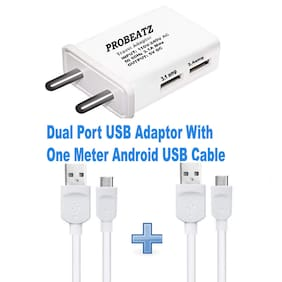 Probeatz Dual Port USB Fast Charger Travel Adapter with 3.1 Amp Power Supply With Two One Meter Android USB Cable for All Android and IOS Devices ( 2 Data Cable Included ) Power Supply Adaptor