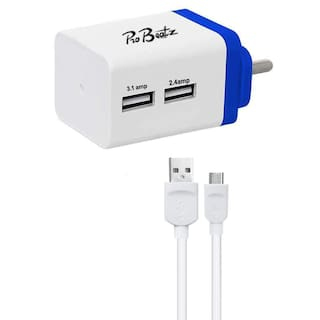 Probeatz Turbo 3.1 Amp & 2.4 Amp Dual Port USB Charger Adapter With Quick High Speed Wall Charger Premium High Speed Two Port USB Wall Charger 3.1A - probeatz Certified - Light Weight - Fast Charging