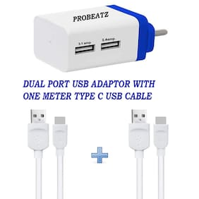 Probeatz Turbo 3.1 Amp & 2.4 Amp Dual Port USB Charger Adapter With Quick High Speed Wall Charger Premium High Speed With Two Type C USB Cable (One Meter)- Light Weight - Fast Charging