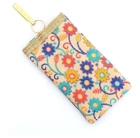 PRODUCTMINE Embroidered Mobile Pouch with String and Detachable Key Ring and Saree Hook