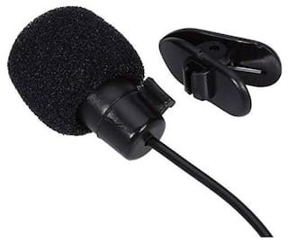 Professional Mini Clip Collar Microphone with 3.5 mm Jack for All iOS/Android Devices - Black By Crystal Digital