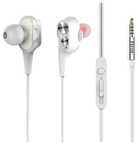 PTron Boom 2 4D Earphone Wired Headset with Mic (White, In-Ear)
