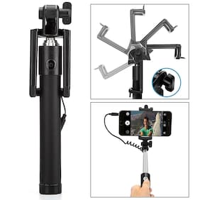 PUNIX - Universal Portable Wired Selfie Stick Monopod Handheld Extendable Foldable with AUX Cable Compatible for All 3.5mm Jack Smartphones (iPhone & Android) -Random Color (Color May Vary)