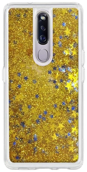 Qrioh Designer Glitter Liquid Sand Back Cover Compatible with  Oppo F11 Pro - Gold Star Sparkle Glitter case