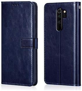 RAKULO Leather Flip Cover For Redmi Note 8 Pro ( Blue )